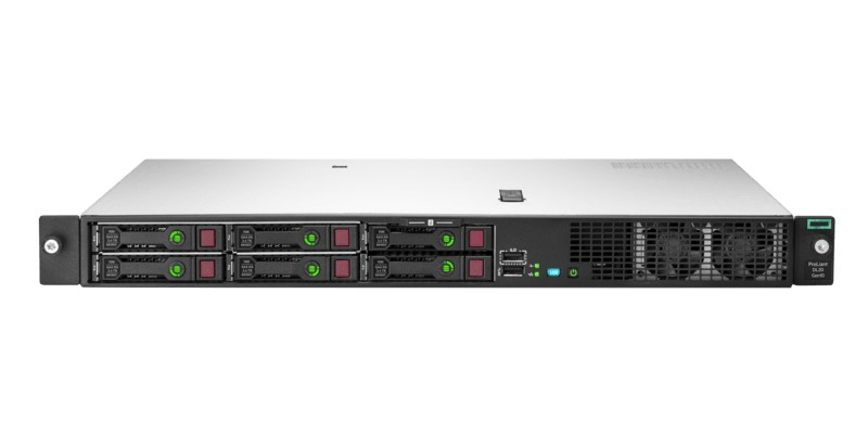 Вид спереди серверов HPE ProLiant DL20 Gen10 6SFF